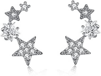 CIShop Star Zircon Diamond Stud Earrings Ear Wire Ear Cuff Earring 1Pair (hypoallergic)