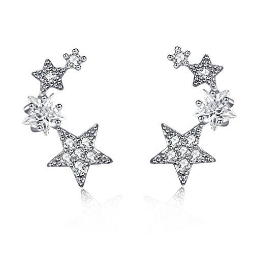 CIShop Star Zircon Diamond Stud Earrings Ear Wire Ear Cuff Earring 1Pair (hypoallergic) (White) (White Gold Zircon Earrings)
