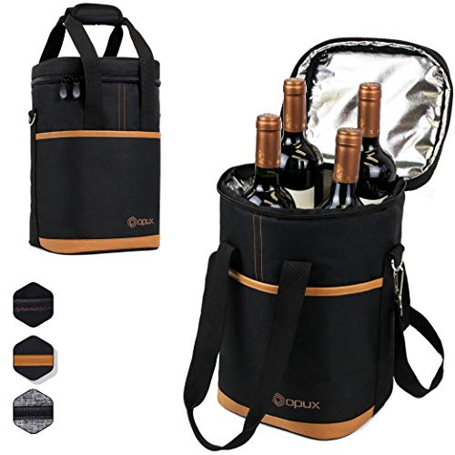 - Premium Insulated 4 Bottle Wine Carrier Tote Bag | Wine Travel Bag with Shoulder Strap and Padded Protection | Wine Cooler Bag (Brown)