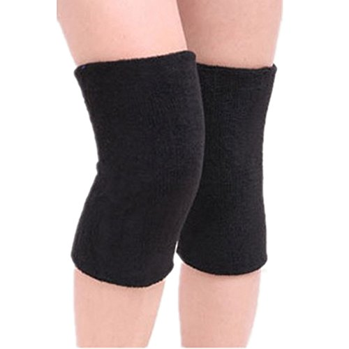 Mcolics Cotton Non-slip Soft Absorbent Knee Pad Support Brace Protector Leg Sleeve Kneelet Thickening Extended Warm For Men & Women Outdoor Sports Running Dancing Gym Yoga Fitness, 1 Pair (Black)