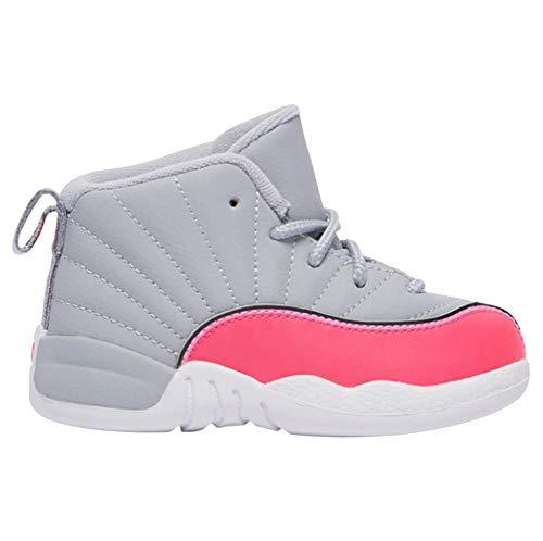 Nike Jordan 12 Retro TD Kids Wolf Grey/Racer Pink 819666-060 (Size: 10C) (Jordan Kids Girl Shoes)