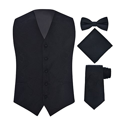 Black Full Back Tuxedo Vest - Men's 4 Piece Paisley Vest Set, with Bow Tie, Neck Tie & Pocket Hankie - (XL (Chest 46), Black)
