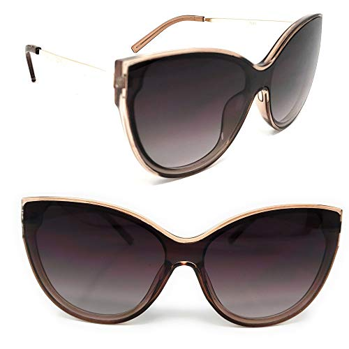 Brown Sunglasses Replica (SunMod - Retro Oversized Cat Eye Designer Inspired Fashion Shield Sunglasses for Women, Men, Unisex UV400 -SM 1128 (Brown frame/Gold))