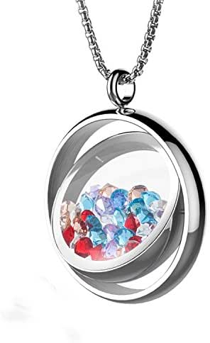 BOFEE Floating Locket Pendant Necklaces Living Memory Charms Locket Pendant 316L Stainless Pendant Rotatable Jewelry Design with 100pcs Charms