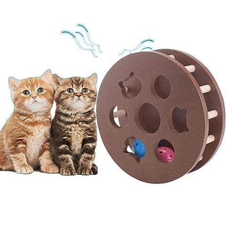 QNMM Juguete Carrusel De Juguete Interactivo para Gatos Juguetes Educativos para Mascotas Juego De Gato De Madera Jugar Bolas De Colores Bolas De Baile De ...