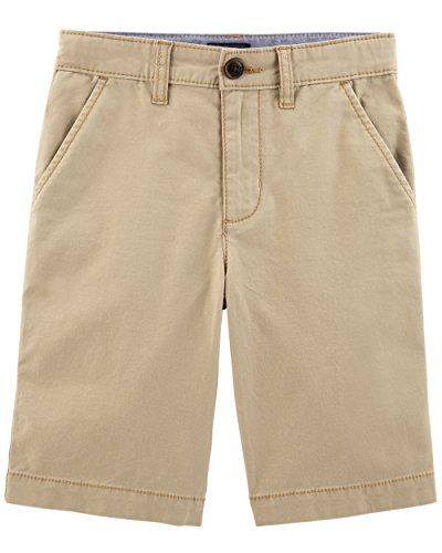 Boys Flat Front Shorts - Osh Kosh Boys' Kids Stretch Flat Front Short, Safari Khaki, 10