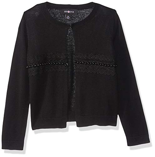 Amy Byer Big Girls' Dressed up Cardigan Sweater, Black, L