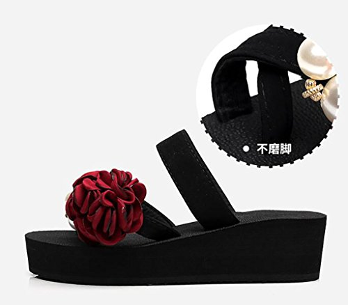 Flip-flops, fashion wedges, slippers, women's beach shoes, wedges, slippery slippers Flat Sandals,Fashion sandals (Color : C, Size : 42) C