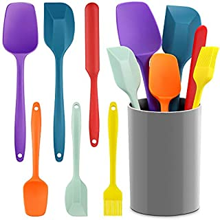 Silicone Spatula Set, EAGMAK 7PCS BPA Free Heat Resistant Non-stick Spatulas with Matching Canister for Baking Cooking, Seamless Design, Stainless Steel Core (Multicolor)