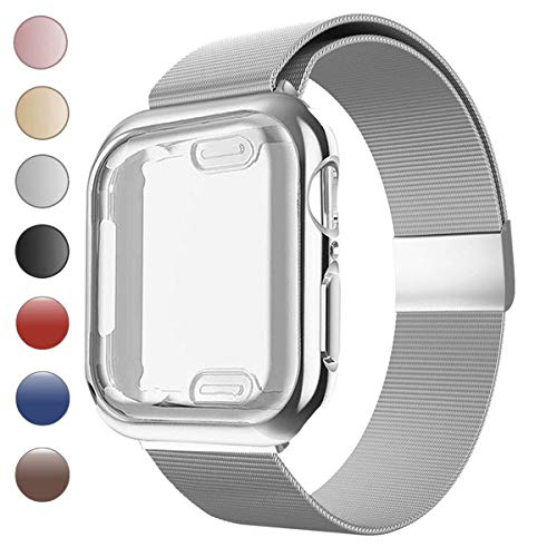 Lilycase Stainless Steel Magnetic Mesh Sport Wristband with Screen Protector All-Around Protective Cover Case - Replacement for Apple Watch Series 4 3 2 1 38mm 40mm 42mm 44mm (44mm, Silver)