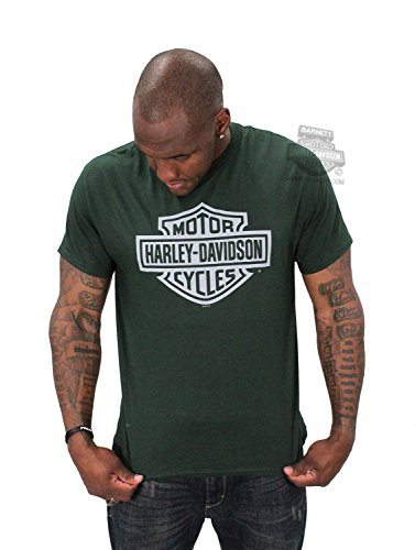 Harley-Davidson Mens Engine Force B&S Front & Back Green Short Sleeve T-Shirt