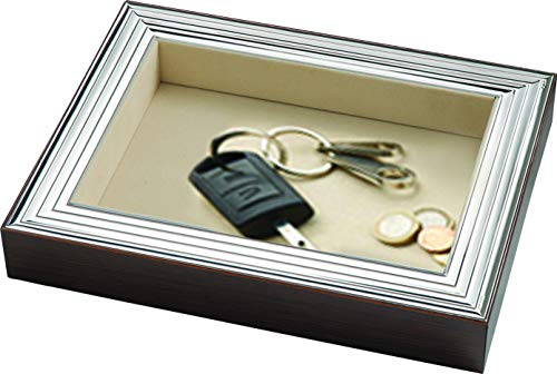 Sterling Silver Flat Organizer, Coin Tray, Valet Key Organizer, Dresser Organizer. Made in Italy (Line Design)