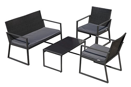 PATIOROMA 4 Pieces Patio Furniture Set Rattan Wicker Table and Chairs with Grey Seat Cushions, Outdoor PE Wicker, Black