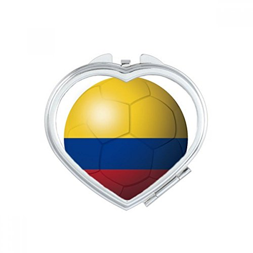 DIYthinker Colombia National Flag Soccer Football Heart Compact Makeup Mirror Portable Cute Hand Pocket Mirrors Gift by DIYthinker