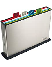 Joseph Joseph Index Plastic Cutting Board Set with Stainless Steel Storage Case Color-Coded Dishwasher-Safe Non-Slip, Large, Steel Multicolored