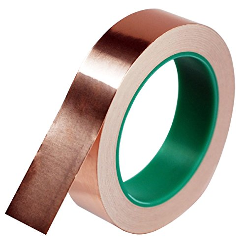 (Copper Foil Tape,DIKOO Double-Sided Conductive Adhesive (1inch X 21.8yards) for EMI Shielding,Slug Repellent,Electrical Repairs,Stained Glass,Art Work,Soldering,Grounding Paper Circuits,Crafts)