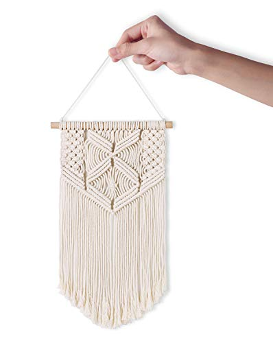 Mkono 2 Pcs Macrame Wall Hanging Art Woven Wall Decor Boho Chic Home Decoration for Apartment Bedroom Living Room… - This cute macrame wall hanging is created to fit in any space and budget. Beautiful wall art creates a sense of harmony and comfort for your room. It is great for a bedroom, dorm room, living area, baby nursery, workspace or anywhere where you'd like to bring some texture and interest to your walls. Mkono Macrame Wall Hanging is made of 100% Pure cotton cord, without artificial ingredients or chemicals. Sturdy, durable and premium quality. This cute and chunky macrame can make a big difference in any space. Its symmetrical design will fit in any interior. This woolen hanging makes a perfect statement piece for hanging over the head of a bed or baby crib, over a couch, fireplace mantel or desk, or near a window for adding a cozy touch to your living or work space. Great decoration for party, wedding, or as photo props. - living-room-decor, living-room, home-decor - 41ugqK0p37L -