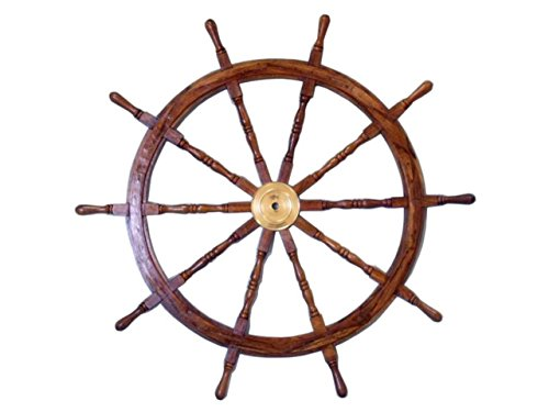 (Nautical  Deluxe Class Wood and Brass Decorative Ship Wheel 36
