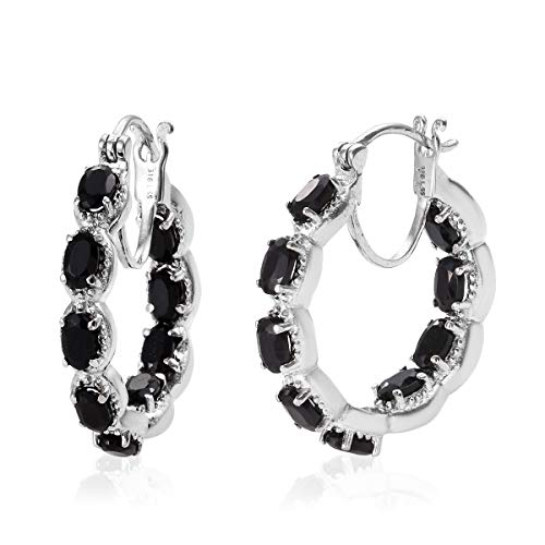 Hoops Hoop Earrings for Women Stainless Steel Oval Black Onyx Gift Jewelry Cttw 2.8