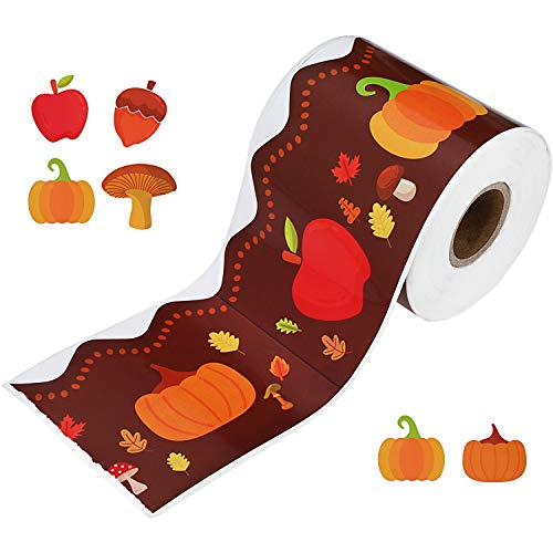 Thanksgiving Bulletin Board Decorations (Holiday Bulletin Border Pumpkin Borders Autumn Leaves Border for Thanksgiving Decoration Halloween Party, 49 Feet)