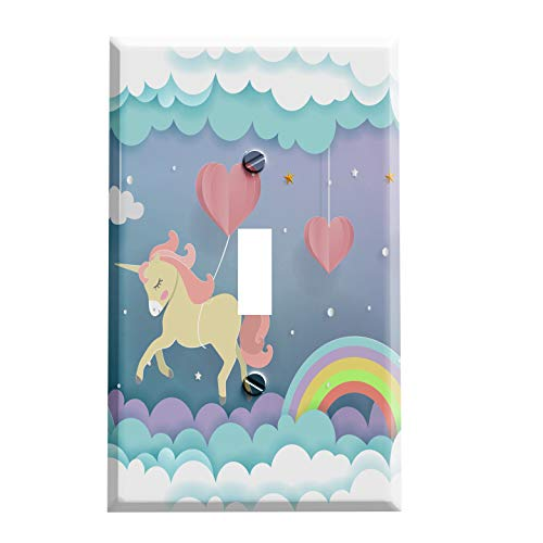 (Gotham Decor Switch Plate Single Toggle Unicorn Rainbow Dreams Light Switch Cover)