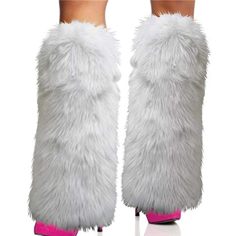 Rhode Island Novelty White Furry Leg Warmers