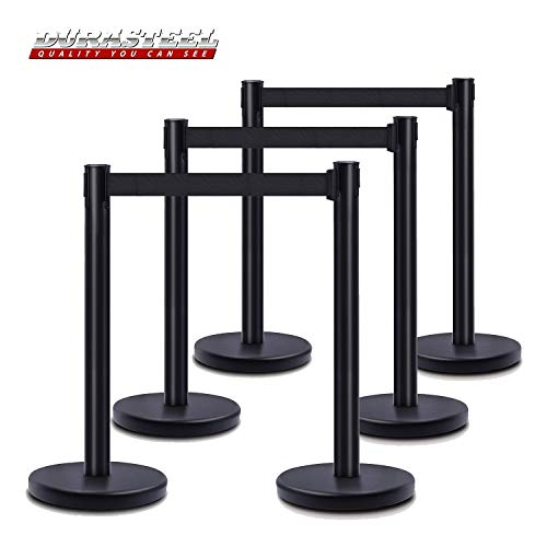 DuraSteel Retractable Belt Stanchions (6 Pcs Set) -