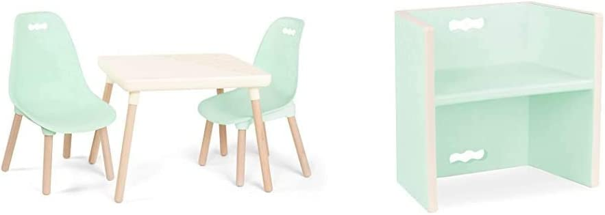 B. spaces by Battat – Kids Furniture Set – 1 Craft Table & 2 Kids Chairs with Natural Wooden Legs (Ivory and Mint) & spaces by Battat - Chair Stair – 3-In-1 Step Stool – Mint
