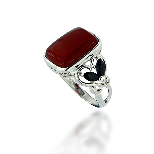 - Chuvora Rhodium Plated 925 Sterling Silver Square Red Carnelian with Black Spinel Gemstone Ring, Size 6