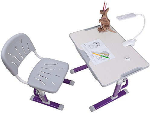 FD LUPIN Height Adjustable Children Desk & Chair Set, Kids Workstation for School, Kids Study Table [CUBBY series] (PURPLE) by Fun Desk