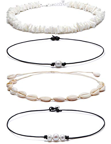 VALIJINA 4 Pieces Cowrie Shell Choker Necklace for Women Hawaiian Seashell Pearls Choker Necklace Statement Adjustable Cord Necklace Set for Girls Women