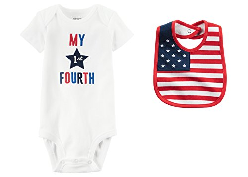 Carters Baby Boys or Girls My First Fourth of July 4th Bodysuit and Flag Bib Set (6 Months, Red White and (Infant Boy 4th Of July Outfits)