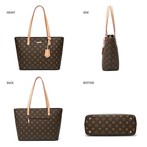 ELIMPAUL Women Fashion Handbags Tote Bag Shoulder Bag Top Handle Satchel Purse Set 4pcs (Black-3) by ELIMPAUL (Image #1)