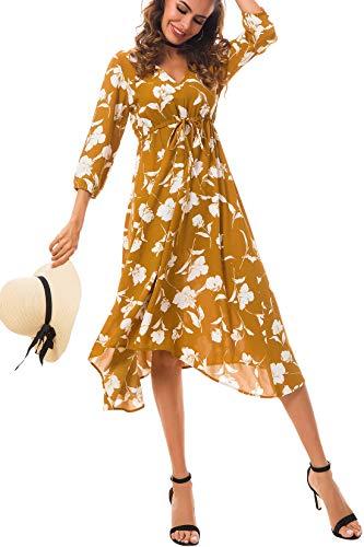 Tsher Women's Summer Three Quarter Sleeve Deep V-Neck Loose Chiffon Beach Dress 0058 (XXL, ()