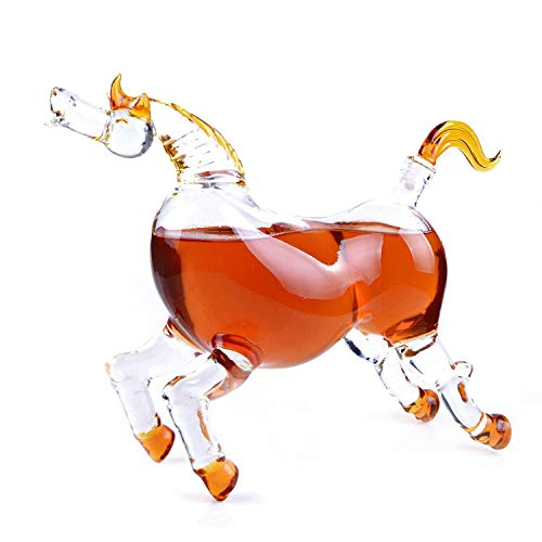 Animal Decanters Large 35-Oz Horse Derby Glass Figurine, Lead Free Mouthblown Liquor Decanter For Bourbon, Whiskey, Scotch, Rum, Tequila