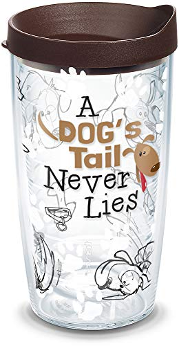 (Tervis 1133008 a Dog's Tail Never Lies Insulated Tumbler with Wrap and Brown Lid, 16oz, Clear)