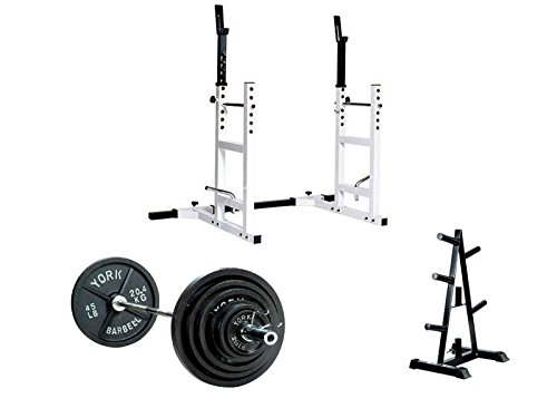 York Barbell 2'' 300 lb Olympic Weight Set with A-Frame Tree Plate and Barbell Support by York Barbell