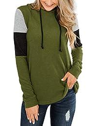 Womens Color Block Hoodie Sweatshirts Tunic Pullover Tops Long Sleeve Drawstring Shirts