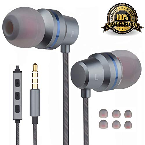 Earbuds Ear Buds Wired Headphones Microphone in Ear Earphones Stereo Mic Ear Buds Volume Control Music Headsets Compatible Android Smart Phones Samsung Noise Cancelling 3.5mm Devices