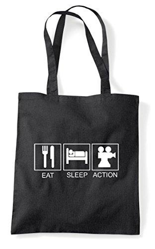 Action Activity Eat Shopper Black Bag Sleep Tote Funny Hobby Tiles 5O5wHXqr4x