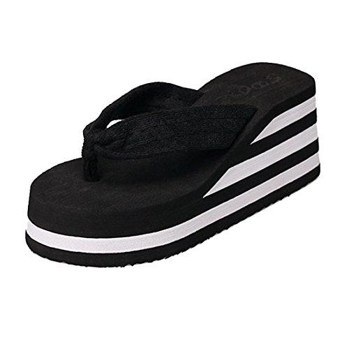 Voberry® Fashion Womens Stripe Flip Flops Thong Sandals High Wedge Sandals (8, Black)