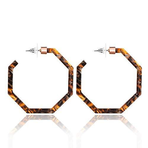 925 Sterling Silver Needle Acrylic Hoop Earrings Multicolor Upgraded Geometric Resin Earrings Delicate Acetate Prevent Allergy Stud Dangle Earrings Women (C Multicolor Flowers)