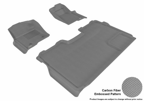 3D MAXpider U-ACE FORD F-150 2009-2013 SUPERCREW KAGU GRAY R1 R2 (2 EYELETS, NOT FIT 4X4 M/T FLOOR SHIFTER, TRIM TO FIT SUBWOOFER) L1FR03901501 Floor Mat - Custom Interior Trim