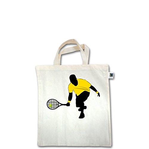 Tennis - Tennis Squash Kniend - Unisize - Natural - XT500 - Fairtrade Henkeltasche / Jutebeutel mit kurzen Henkeln aus Bio-Baumwolle