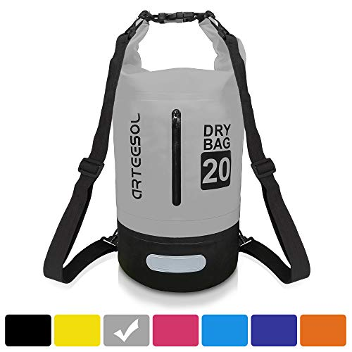 arteesol Dry Bag, Waterproof Dry Bag 5L/10L/20L/30L Backpack with Adjustable Shoulder Strap Perfect for Kayaking/Boating/Canoeing/Fishing/Rafting/Swimming/Camping/Snowboarding (30L, Grey)