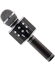 ميكروفون صب مايك كاريوكي للغناء مع بلوتوث ومشغل KTV بمنفذ يو اس بي -اسود