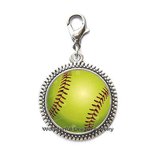 Waozshangu Baseball Zipper Pull Silver Simple Minimalist Ball Sport Team Softball Charms Zipper Pull,Baseball Fan Jewelry,PU013 -