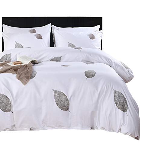 (SexyTown Floral Leaves Duvet Cover Set King 3 Piece Bedding Set King Soft Duvet Comforter Cover Set Modern Duvet Cover Set Hotel Collection Comforter Cover King (FH C, King))