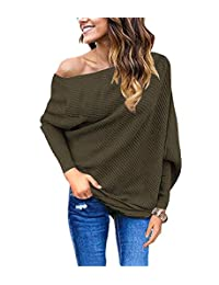 GOLDSTITCH Women's Off Shoulder Batwing Sleeve Loose Pullover Sweater Shirt Knit Jumper
