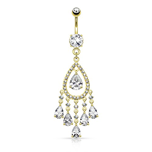 Tear Drop Chandelier CZ Deluxe Dangle Belly Button Ring 14kt Gold Plated 14g Navel Ring (14k Plated Gold - Teardrop Ring Navel Chandelier
